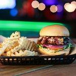 Shrooming Burger & Waffle Fries