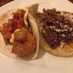 Rock Shrimp and Beef Barbacoa tacos