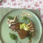 Фиде Барашка с кофейным соусом и японскими грибами ( не запомнил какими , но точно были не галлю