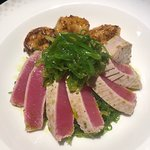 Seared Ahi tuna with wild red shrimp on a bed of seaweed salad. Delicious!!!