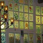 wall of glass at La Plazuela in the Fonda restaurant, Santa Fe