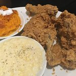Excellent fried chicken, too sweet sweet potatoes and average creamed corn