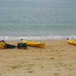 Kayaks on the beach at Observation Point