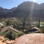 View from hot tub overlooking town and Zion