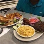 Vegetarian burger and sandwich.