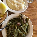 Green beans with huge pieces of ham and fresh mashed potatoes