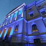 Evening with blue lighting