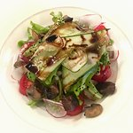 Salad: lettuce, barley, cucumber, radish, mushroom and nuts