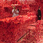 NGV art exhibition - poppies to appreciate in the kitchen. Hmmm.