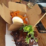 ribs and sweet potato chips