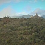 Les châteaux vu du plateau de Lacombe à Lastours avec un ciel de toute beauté