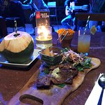 Casa beef : marinated grilled beef with hand cut fried pototes & garden salad