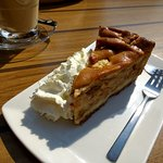 Apple pie with whipped cream.