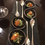 Taster on the house, salmon and cucumber salsa