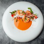 KING PRAWN AND COCONUT grilled sweet red pepper, watercress shoots