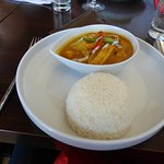 Thai green curry and rice with crispy tofu