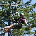 Zipping through the pine trees!
