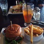 Beef cheeseburger, fries and real iced tea.