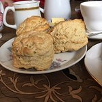 It was all about the scones, warm and salty, but also about the tea in real china cups.