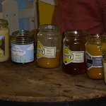 Six shades of honey, according to the crop the bees visited and the time of year.