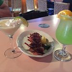 Bacon wrapped shrimp and Key Lime Pie margarita