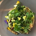 It's the asparagus appetizer with pansies and other delights.