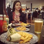 halloumi wrap and chips with a pint and little'uns got steak and egg and chips :)