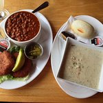 Fish Cakes & beans, seafood chowder