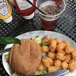 Burger and tots
