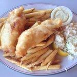 The Haddock, fries slaw and tahtah sauce