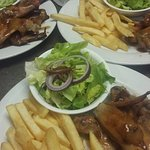 Chicken wings, chips and side salad