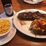 Steak with loaded baked potato, corn and of course Michelob Ultra