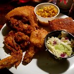 3-piece fried chicken diner with baked beans, corn, cole slaw and cornbread for only $7