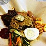 Nasi dagang with squid, prawns & beef rendang