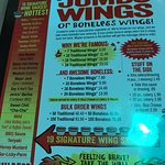 menu, wings shot