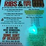 menu, rib tips