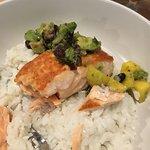 Seared Coho Salmon w/rice and mango/avocado/black bean salsa. Incredibly delicious!