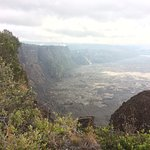 This photo is a short stroll from the Volcano House looking back at it over part of the Caldera.