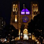 Grace Cathedral at night