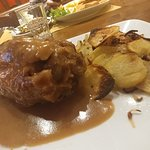 Pork shank and Chimay blue, great meal to end the night in Sacile. The pork shank is so tender a