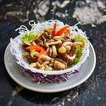 Wild mushroom salad with vegetarian XO sauce.