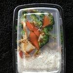 Chicken w/broccoli combination w/white rice & egg roll
