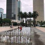 running through the fountains