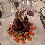 Beautiful rack of lamb with potatoes and greens!