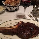 A classic! Bone In Rib Eye! with mashed potatoes.