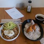 Grits and gravy topped with buttermilk fried chicken. Hoisin Noodle dish with pork and egg.