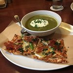 asparagus soup with prosciutto flatbread