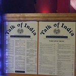 Talk of India - Menu