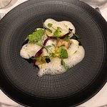 scallops with artichoke foam, green cauliflower