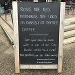 Cheesy yet clever blackboard outside the pub